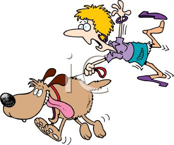 Cartoon of a Woman Being Dragged by a Large Exuberant Dog