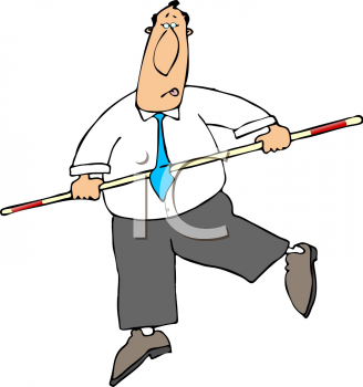 Cartoon of a Businessman  Balancing with a Pole