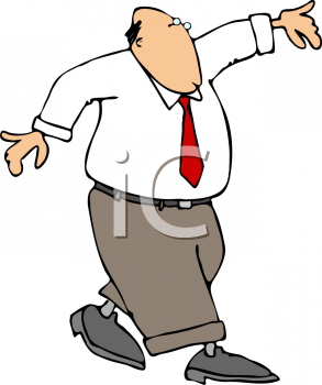 Cartoon of a Businessman Walking a Straight Line with His Arms Up for Balance