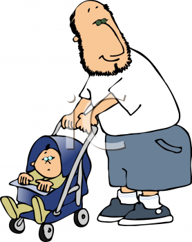 Cartoon of a Bearded Dad Walking His Baby in a Stroller