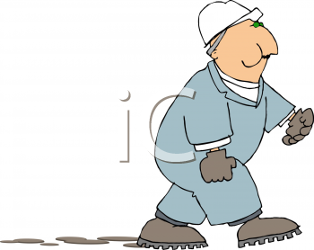 Cartoon of a Chubby Workman Leaving Muddy Tracks as He Walks