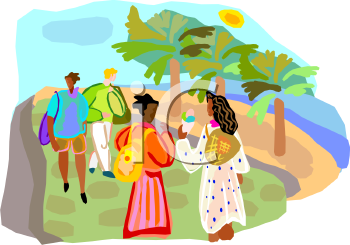 Ethnic People Walking in a Park by the Beach