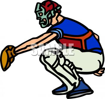 Cartoon of a Catcher at Home Plate