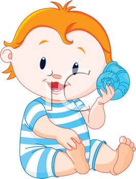 Cartoon Baby Holding a Seashell at the Beach