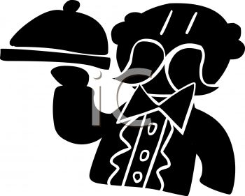 Silhouette of a Waiter Holding a Tray