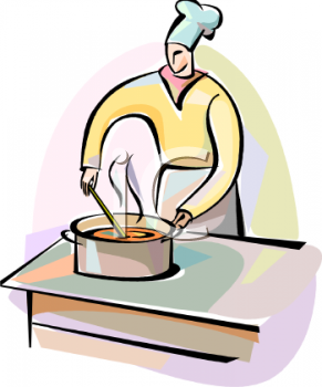 Chef Stirring Soup in a Large Pot