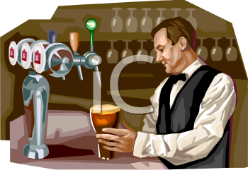 Tavern Bartender Pouring a Beer