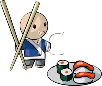 Japanese Character with Chopsticks and a Plate of Sushi