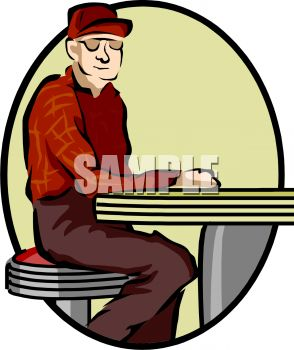 Old Man Sitting at a Lunch Counter