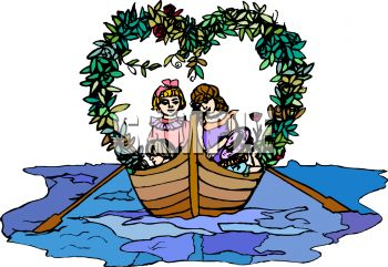 Romantic Kids in a Boat with a Heart Shaped Vine