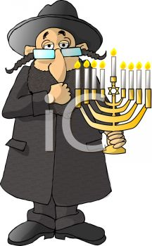 Cartoon of a Jewish Rabbi Holding a Menorah