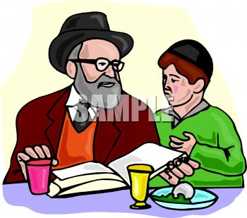 Rabbi and a Boy Reading a Religious Book