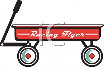royalty free clip art image vintage red flyer wagon