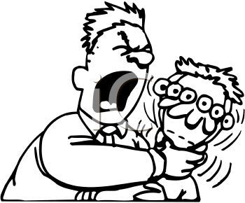 royalty free clip art image angry man choking a kid Frustrated Clip Art
