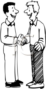 Two Men Shaking Hands in Greeting