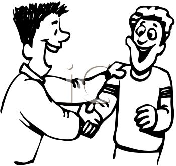 Guy Greeting His Friend with a Handshake - Royalty Free Clip Art ...