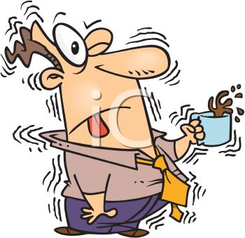 Cartoon of a Man Shaking from Too Much Caffeine