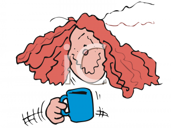 Woman Shaking from Too Much Coffee