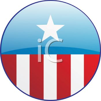 Patriotic Campaign Button with Stars and Stripes