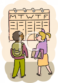 Students Looking at a Class Schedule on a Calendar