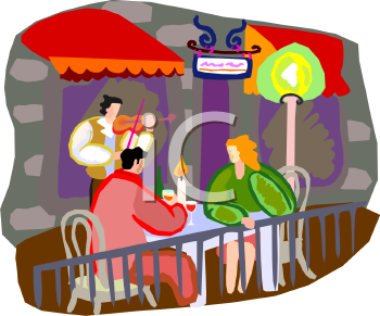 Couple Being Serenaded at a Sidewalk Bistro at Night