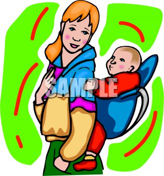 Woman with Her Baby in a Back Carrier