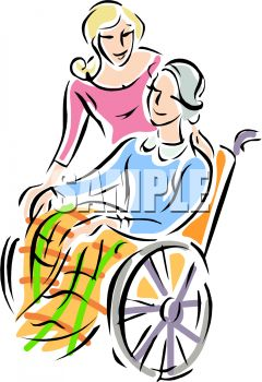 Adult Daughter with Her Elderly Mother in a Wheelchair