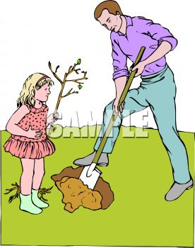 Little Girl Helping Her Dad Plant a Tree