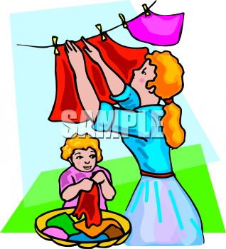 Little Girl Helping Her Mother Hang Laundry on a Clothesline