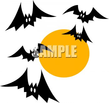 Cartoon of Halloween Bats Flying in Front of a Full Moon