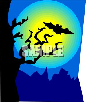 Bat Flying in Front of a full Moon with a Tree in Silhouette