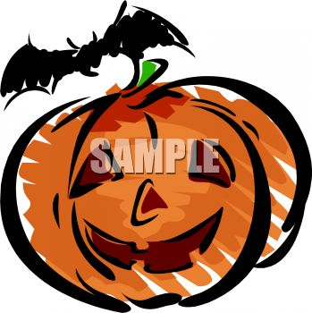 Halloween Pumpkin with a Vampire Bat