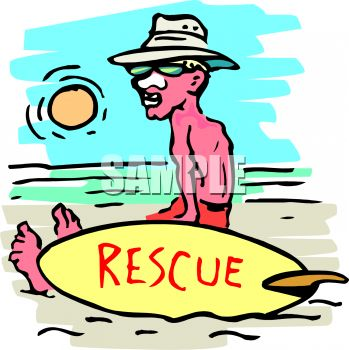 Cartoon of a Lifeguard Sitting on the Beach with Zinc on His Nose