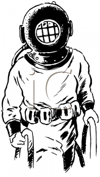 Vintage Black and White Deep Sea Diver