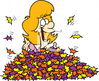 Woman Buried in a Pile of Autumn Leaves