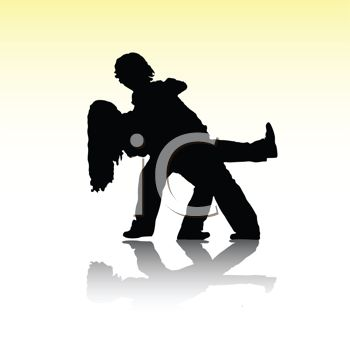 Silhouette of a Man Dipping a Woman While Dancing