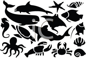 Digital Collage of Sea Life Silhouettes