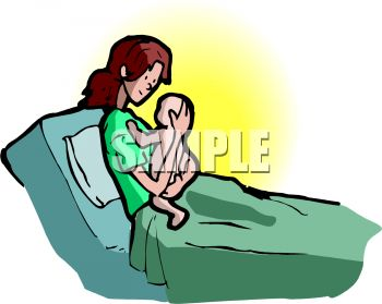 Cartoon of a Woman in the Hospital Holding Her Newborn