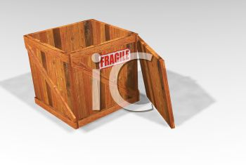 Open Crate with a Fragile Sticker