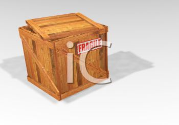 Wooden Shipping Crate with a Fragile Label