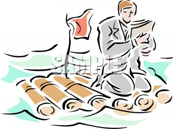 Businessman Stranded on a Raft in the Ocean