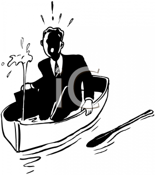 Retro Black and White Businessman in a Sinking Boat