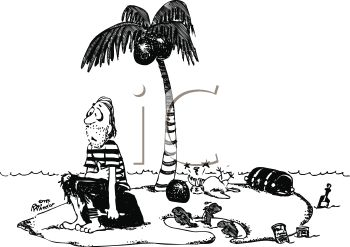 Black and White Cartoon of a Shipwrecked Pirate