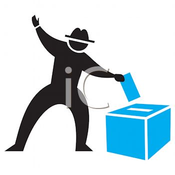 Silhouette of a Man Casting a Ballot Icon