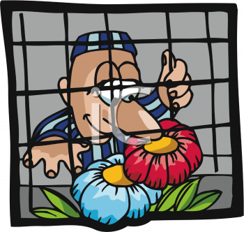 Prisoner Smelling Flowers Outside His Barred Cell Window