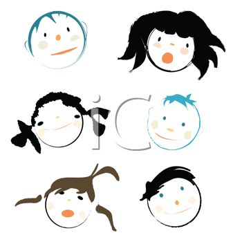 "This ""collage of children's faces"" clipart image can be licensed as part of"