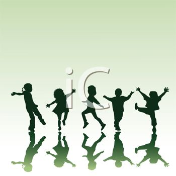 Silhouettes of Adolescents Playing
