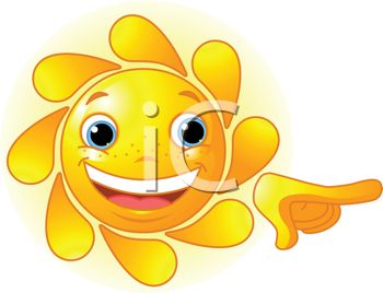 Cute Animated Smiling Sun - Royalty Free Clip Art Illustration