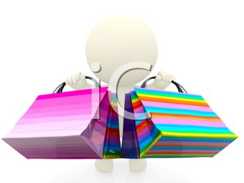 3D Human Figure Carrying Colorful Shopping Bags