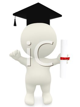 3D Human Figure at Graduation Wearing a Mortarboard Holding a Diploma